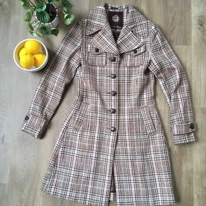 Vintage 90's Brody Pink/Tan Plaid Trench Coat szS